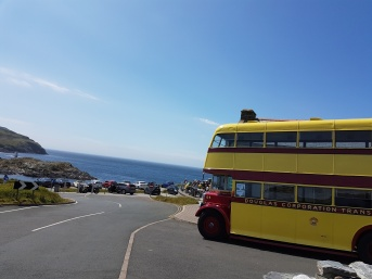 Two vintage bus tours of the island were available