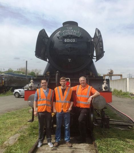 Steam Dreams Head of Service, Operations Director and Chef Director pictured with Flying Scotsman